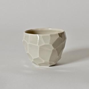 """Faceted cup #5 2.5"""" x  2"""" porcelain, celadon glaze 2013"""