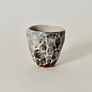 """Faceted cup #9 2.5"""" x  2.5"""" porcelain, oxides 2012"""