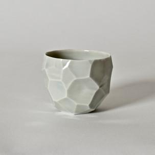 """Faceted cup #6 2.5"""" x  2"""" porcelain, celadon glaze 2013"""