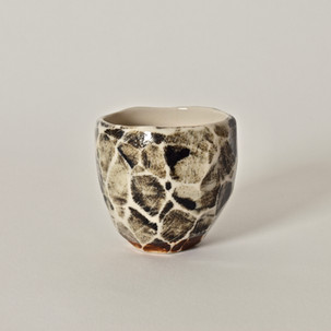 """Faceted cup #8 2.5"""" x  2.5"""" porcelain, oxides 2012"""