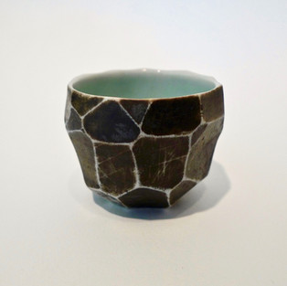 """Faceted cup n/a 2"""" x  3"""" porcelain, black mason stain 2012"""