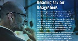 advisor designations