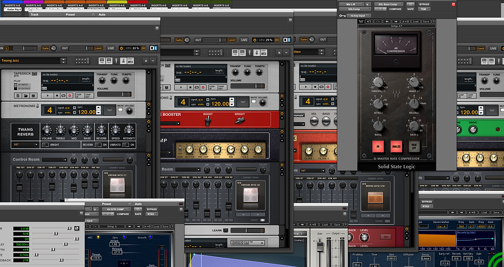 pro tools, avid, digidesign, pthd, guitar rig,native instruments, waves, compressor, amp, reverb, rverb, ssl comp, plugin, amp sim, kit tang, guitar effect