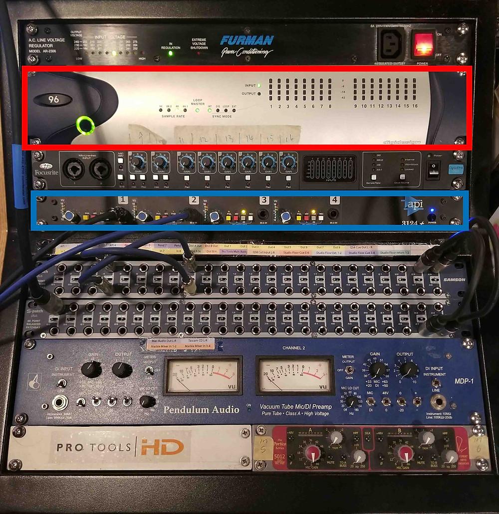 Digi 96 I/O, avid, audio interface, mic preamp, api 3124+, pendulum, neve portico, focusrite