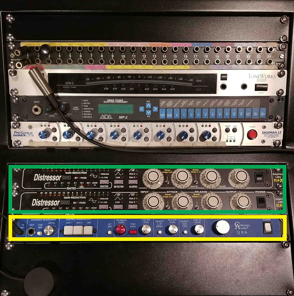 Presonus, Distressor, EL8-X, Coleman audio QS8, compressor, outboard, monitor controller