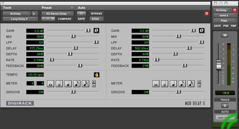 digirack,pro tools, protools, stereo delay,log delay II