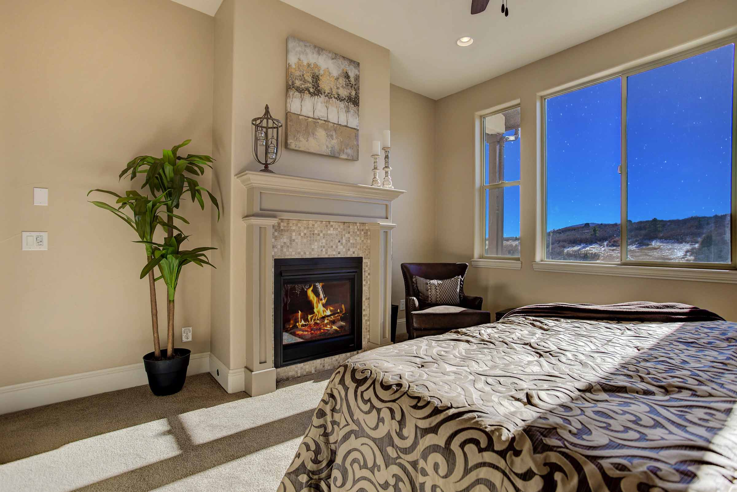 Luxury Main Level Master Bedroom w/ Fireplace