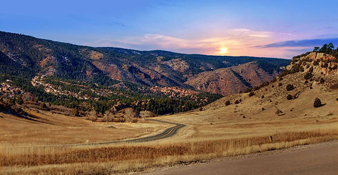sunset view from the Retreat in Perry Park Larkspur Colorado
