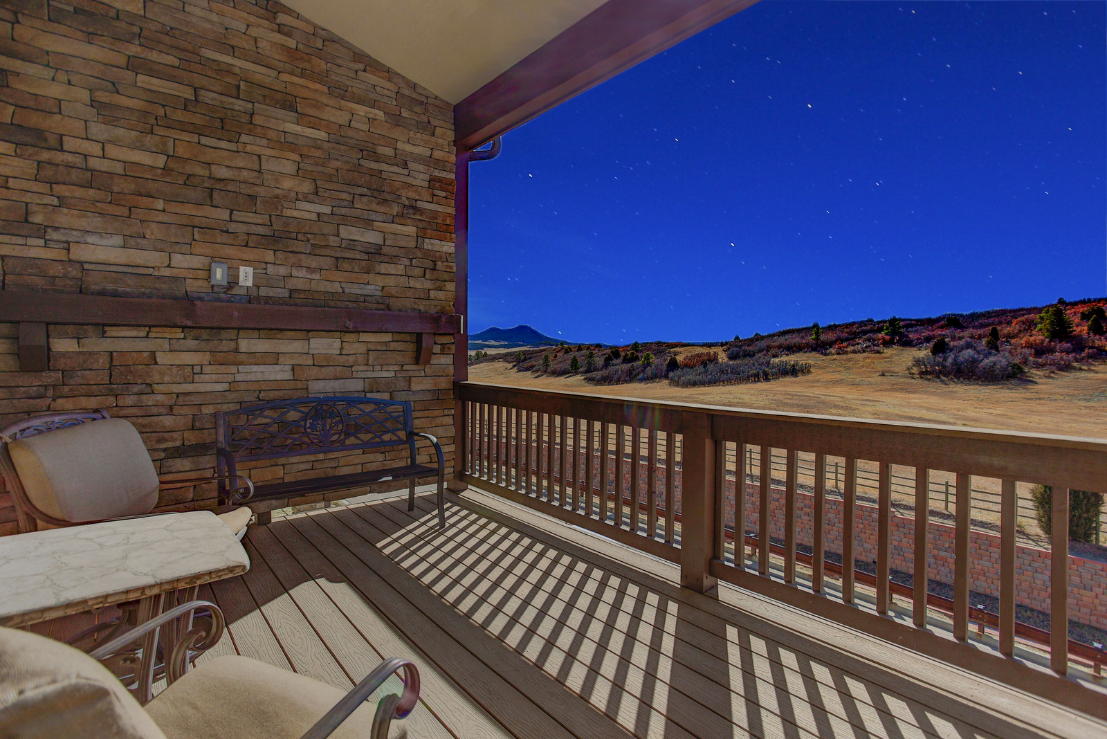 Open space views from a large covered deck