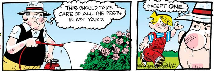 Dennis the Menace and Mr. Wilson gardening comic