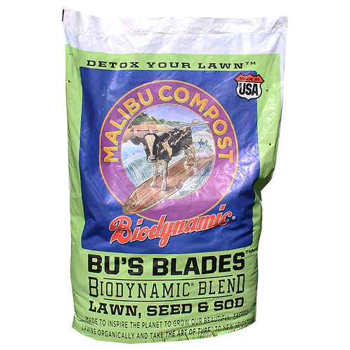 Malibu Compost BU's Blades Lawn, Seed & Sod Product. To Feed, Green-Up, Save Water and Detox Your Lawn.