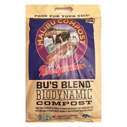 Malibu Compost Bu's Blend Biodynamic Compost, 12 quart bag. Organic and GMO-free Compost.