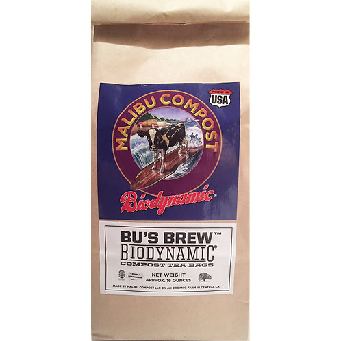 Malibu Compost Bu's Brew Compost Tea for plants, trees and shrubs. Front of tea sleeve.