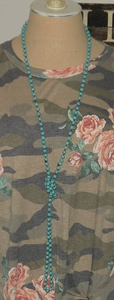 """60"""" turquoise beaded necklace"""