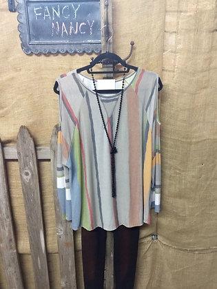 Gray multi color TRENDY striped top