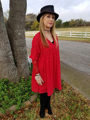 Red Pom Babydoll lined Tunic