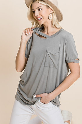 CUTE Gray top with faux tear and pocket