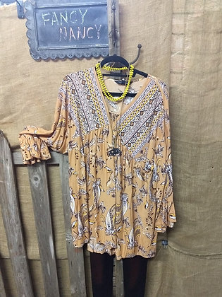 Mustard Floral Print V Neck 3/4 Bell Sleeve Ruffle Top