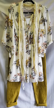 White Floral Dress with 3/4 sleeves