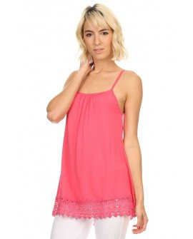 Coral adjustable spaghetti stap slip with lace hem