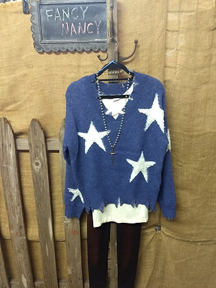 Blue and white star sweater top