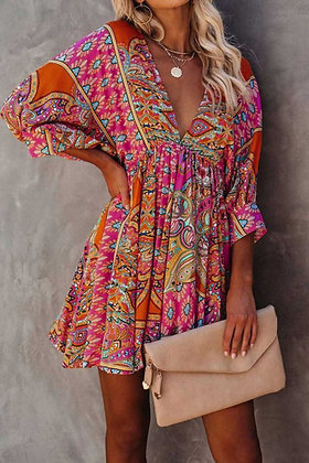 Multi-color BOHO dress with 3/4 sleeves