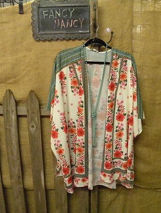 Floral Cardigan with green trim