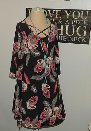 Black feather dress with pockets