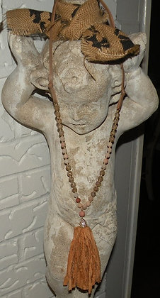 "36"" stone necklace with tangerine tassle"