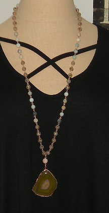 """36"""" stone necklace with stone pendent"""