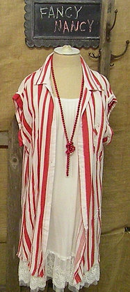 Red striped shirt / tunic with pocket