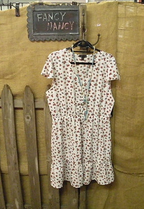 Cream with red floral dress sleeveless