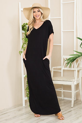 Trendy black jersey MAXI with pockets