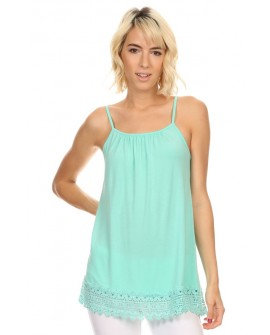 Mint adjustable spaghetti strap top with lace hem