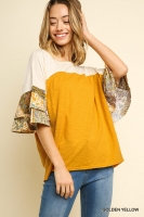 Gold top with Paisley sleeves