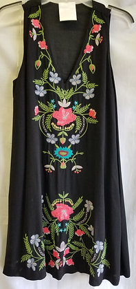 Black sleeveless dress with embroidered front