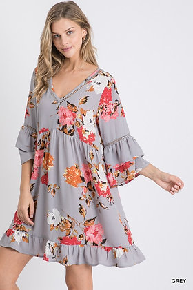 LOVELY Gray floral dress with 3/4 sleeves