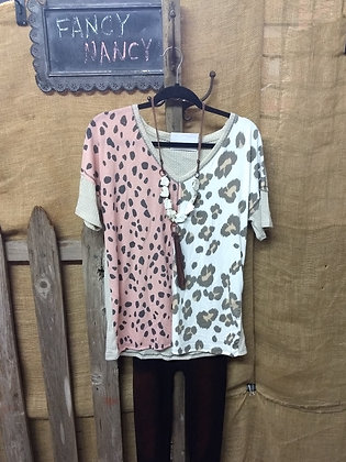 Pink and white leopard fleece top