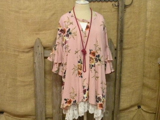 Pink floral tunic with flair sleeves