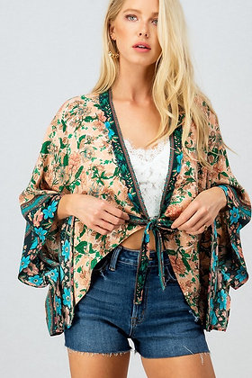 Floral Cardigan with front tie