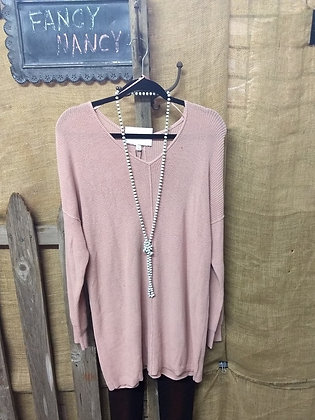 Light pink sweater tunic with buttons on back