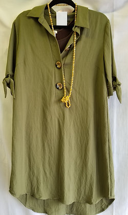 Green top / tunic with collar