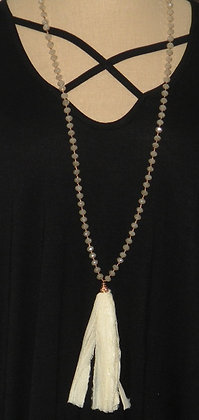 "36"" Crystal beaded necklace with cream tassle"