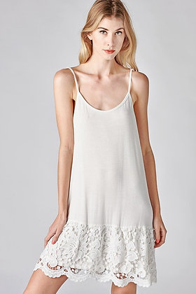 White Dress extender w/adjustable straps