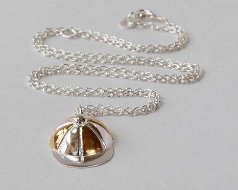 Jockey Cap Pendant - Silver & Gold - Small