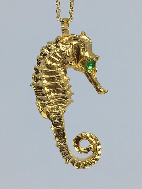 Gold Sea Horse Pendant with Emerald Eyes