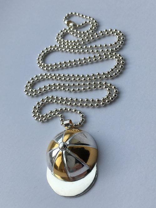 Jockey Cap Pendant - Gold and Silver
