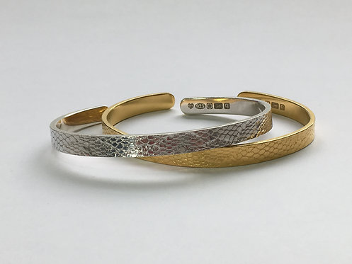 Slim Hard Lace Bangle - Silver