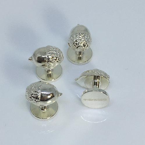 Silver Acorn Shirt Studs