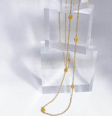 Long 22k Gold Plated Coffee Bean Necklace